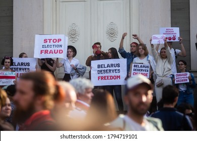 Riga, Latvia - August 12 2020: Free Belarus the rally in Solidarity with Belarus. Abhorrent human rights abuses happening there after elections. Embassy of Belarus in Riga. Hundreds of protesters