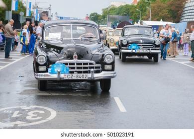 RIGA, LATVIA - AUGUST 16, 2014: Retro car parade during the Days fo Riga.