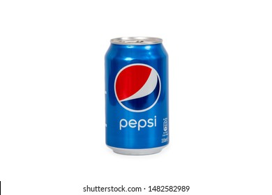 Riga, Latvia - August 19 ,2019 : 330ml Pepsi can Isolated On White Background