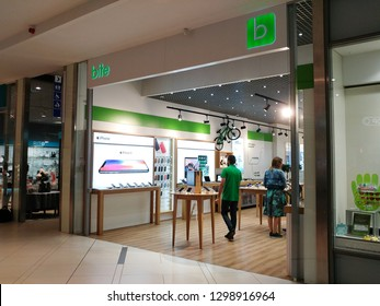 Riga, LATVIA - AUGUST 20,2018: Bite Latvija mobile phone store front in shopping mall Riga PLAZA. Bite Latvija is international mobile operator.