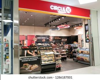 Riga, LATVIA - AUGUST 20,2018: Circle K convenience store in shopping mall Riga PLAZA. Sign of Circle K. Circle K is an international chain of convenience stores.