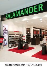 Riga, LATVIA - AUGUST 20,2018: Salamander shoe store front in shopping mall Riga PLAZA. Salamander German shoe company. Salamander is part of Ara Group, operates 200 stores in Europe.