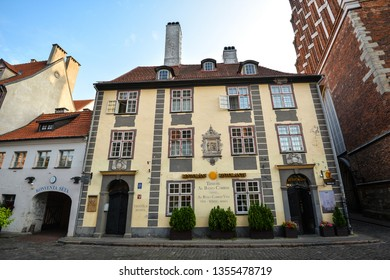 Riga, Latvia - August 22, 2017 : View on facades of Konventa Seta hotel and Tenute Al Bano Carrisi Restaurant in Riga city center, Latvia