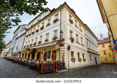 Riga, Latvia - August 23, 2017 : Riga architecture.Beautiful view on old colorful buildings and street cafes of Riga, Latvia. Summer Riga city center.