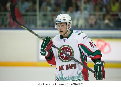 RIGA, LATVIA - AUGUST 25: Oscar Moller (45) in KHL game between Dinamo Riga and AK Bars played on AUGUST 25, 2015 in Arena Riga