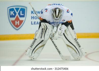 RIGA, LATVIA - AUGUST 27: Goaltender of Severstal (Cherepovets) Jakub Stepanek (33) rests during KHL game between Dinamo Riga and Severstal Cherepovets played on AUGUST 27, 2015 in Arena Riga