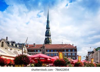 RIGA, LATVIA - August 28, 2017: antique building view in Old Town Riga, Latvia