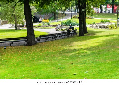 RIGA, LATVIA - AUGUST 7, 2017: park near the Old Town in sunny summer day