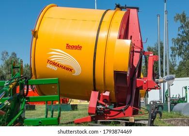 Riga. Latvia. August 7, 2020. Farm machinery. Tomahawk Drum Bale Processor. Tomahawk 5050.