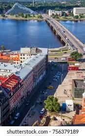 RIGA, LATVIA - AUGUST 8, 2017: aerial view of Old Town and Daugava river, Riga, Latvia