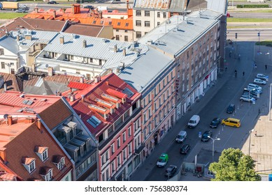 RIGA, LATVIA - AUGUST 8, 2017: aerial view of Old Town, Riga, Latvia