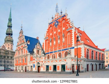 Riga, Latvia. Blackheads House at Town Hall Square in Riga