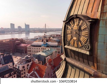 Riga, Latvia. Riga Cityscape In Sunny Summer Day. Famous Landmark - Riga Dome Cathedral