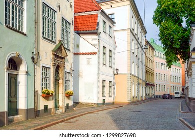 Riga, Latvia. cobbled old streets of the city of riga