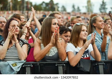 Riga, Latvia: Crowd in front of a stage on a festival in August 2018