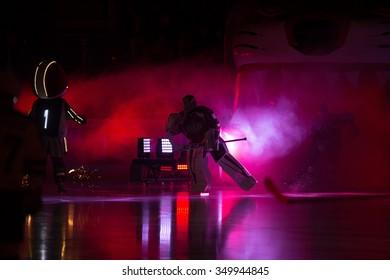 RIGA, LATVIA - DECEMBER 10: Goalie Joacim Eriksson skates into the rink in the opening ceremony of KHL game between Dinamo Riga and Neftekhimik Nizhnekamsk played on DECEMBER 10, 2015 in Arena Riga
