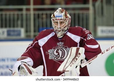 RIGA, LATVIA - DECEMBER 10: Goalkeeper of Dinamo Riga Joacim Eriksson (30) in KHL game between Dinamo Riga and Neftekhimik Nizhnekamsk played on DECEMBER 10, 2015 in Arena Riga