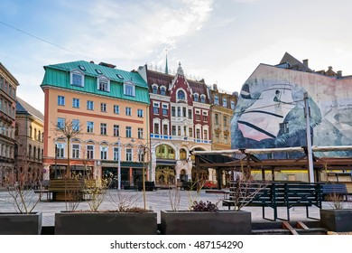 Riga, Latvia - December 26, 2015: Christmas at Dome square in old Riga, Latvia.