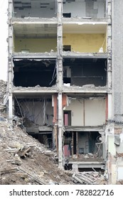 Riga, Latvia, December 28, 2017: demolition of the administrative building of the former Radiotehnika factory at Kurzemes Avenue 3B in Riga (Imanta district).
