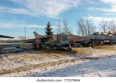 RIGA, LATVIA - December 6, 2017: Detail of the Mikoyan Mig 27 ground attack aircraft, Nato Code Name 'Flogger - D/J', displayed at the Riga Aviation Museum