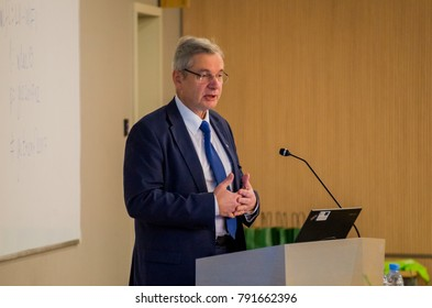 RIGA, LATVIA - DECEMBER 8, 2017: Karlis Sadurskis (K?rlis Šadurskis), Minister of Education and Science in Latvia, speaking at the conference of Latvian Geospatial Technology association