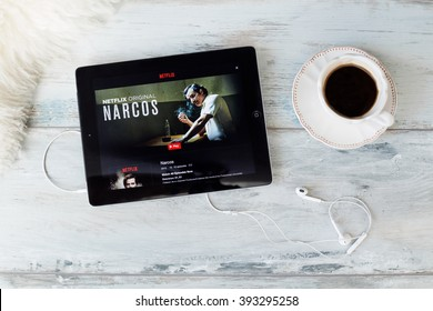 RIGA, LATVIA - FEBRUARY 17, 2016: Narcos is an American crime thriller television series,originally aired on August 28, 2015, as a Netflix exclusive.