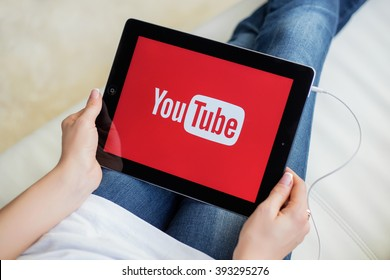 RIGA, LATVIA - FEBRUARY 17, 2016: YouTube allows billions of people to discover, watch and share originally-created videos.