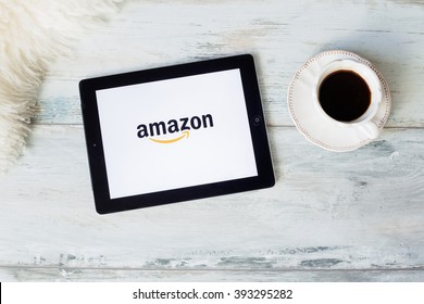 RIGA, LATVIA - FEBRUARY 17, 2016: Amazon is an American electronic commerce and cloud computing company. It is the largest Internet-based retailer in the United States.
