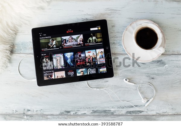 RIGA, LATVIA - FEBRUARY 17, 2016: Netflix on the App Store. Netflix is a global provider of streaming movies and TV series.