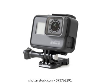 RIGA, LATVIA - February 24, 2017: GoPro action camera HERO5 Black isolated on white background.