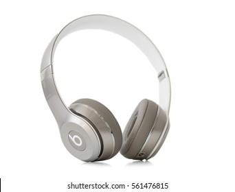 RIGA, LATVIA - January 10, 2017: Beats Solo2 On-Ear Headphones.