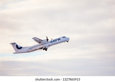 Riga, Latvia - January 16, 2019: Finnair Nordic Regional Airlines NORRA OH-ATI, ATR 72-500 airplane at RIX International Airport. Norra operates many domestic and European routes (Flybe Finland Oy)