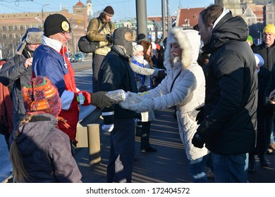 "Riga, Latvia, January 18, 2014: Campaign "" Light path"" - chain of book friends."