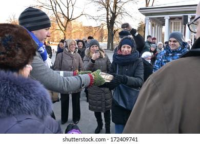 "Riga, Latvia- January 18, 2014: Campaign "" Light path"" - chain of book friends."