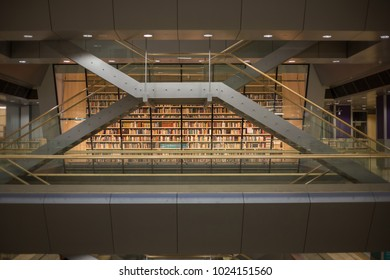 RIGA, LATVIA - January, 2018: Interior space of Latvian National Library also known as Castle of Light.