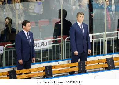 RIGA, LATVIA - JANUARY 3: Head coach of Dinamo Riga Normunds Sejejs and assistant coach Sandis Ozolins in the opening of the KHL game Severstal Cherepovets, played on January 3, 2017 in Arena Riga