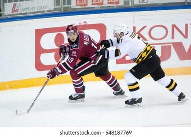 RIGA, LATVIA - JANUARY 3: Mikelis Redlihs (19) in the KHL regular championship game between Dinamo Riga and Severstal Cherepovets, played on January 3, 2017 in Arena Riga