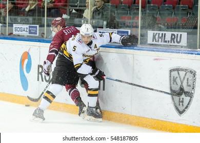 RIGA, LATVIA - JANUARY 3: Nikolai Stasenko (5) in the KHL regular championship game between Dinamo Riga and Severstal Cherepovets, played on January 3, 2017 in Arena Riga