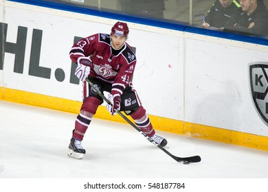 RIGA, LATVIA - JANUARY 3: Tim Sestito (43) in the KHL regular championship game between Dinamo Riga and Severstal Cherepovets, played on January 3, 2017 in Arena Riga