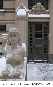 RIGA, LATVIA - JANUARY 4, 2016: Sphinx near art nouveau building in Riga city, Alberta street, 2a (Latvia, Europe). Beautiful old architecture with Egyptian motives, rich stucco molding, mascarons