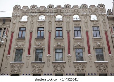 RIGA, LATVIA - JANUARY 4, 2016: Art nouveau building in Riga city, Alberta street, 2a (Latvia, Europe). Beautiful old architecture with Egyptian motives, rich stucco molding and mascarons on facade