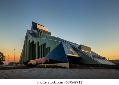 RIGA, LATVIA - JULY 2, 2017.Latvian National Library or Castle of Light at sunset