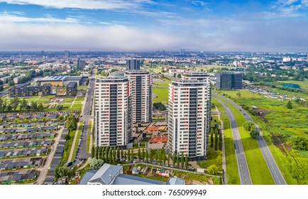 "RIGA, LATVIA - JULY 20, 2017: Aerial view of apartment highrises ""Skanstes virsotnes"" at Skanste district"