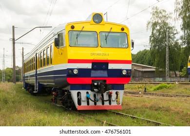 RIGA, LATVIA - JULY 29, 2016: Suburban electric train in Riga. Electric train is popular transport in the capital of Latvia.