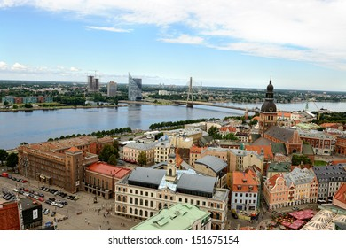 RIGA, LATVIA - JULY 31: Panoramic view of the old city on July 31, 2013 in Riga, Latvia.  Riga is the capital and largest city of Latvia with about 700 000 inhabitants.