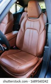 Riga / Latvia - June 06 2019: Maserati LEVANTE SUV Brown leather interior seats