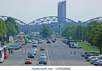 RIGA, LATVIA - JUNE 11, 2014: Transport infrastructure and traffic in city soviet districts