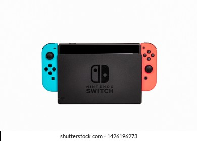 Riga, Latvia -  June 17, 2019: Nintendo Switch, the video game console for home or portable gaming. White background