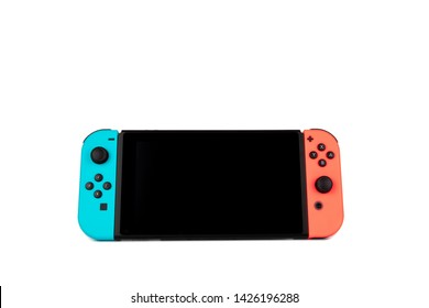 Riga, Latvia -  June 17, 2019: Nintendo Switch Joy-con controller on a white background