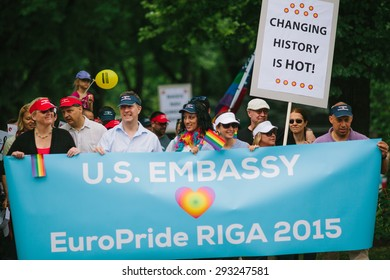 Riga, Latvia - June 20, 2015: EuroPride Riga 2015 parade was attended by more than 5000 participants from all over the world